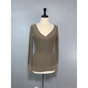 GUESS | Taupe Double V Neck Sweater S